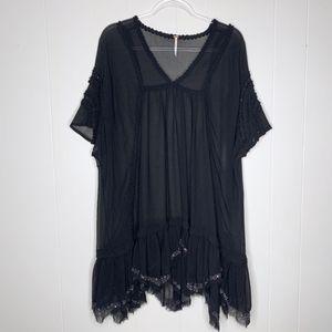 Free People Sheer Black Dress Sequin Hem S